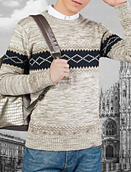 Men's Casual/Daily Simple Regular Cardigan,Print Round Neck Long Sleeve Wool Winter Medium Micro-elastic