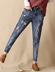 Women's Low Rise Micro-elastic Jeans Pants,Simple Loose Solid