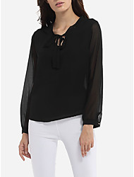 Europe stock # 9101 V-neck lacing bow chiffon shirt long-sleeved shirt Slim