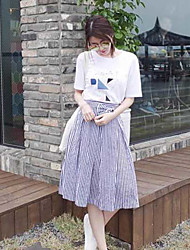 Miss Xia Zhuang Korean two-piece dress long section of high waist skirt suit ladies bow stripes A word