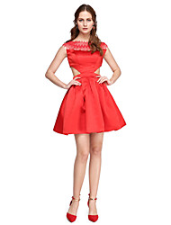 A-Line Bateau Neck Short / Mini Satin Cocktail Party Homecoming Prom Dress with Lace Pleats