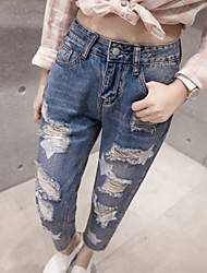 Sign spring loose jeans burr hole printing nine points jeans wide leg pants women