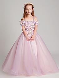 Longo Tule Vestido de Daminha de Honra Princesa Canoa com Apliques