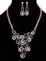 Ensemble de bijoux Opale Cristal Strass Cristal Strass Opale Alliage Vintage Personnalisé euroaméricains BijouxNoir Arc-en-ciel Jaune