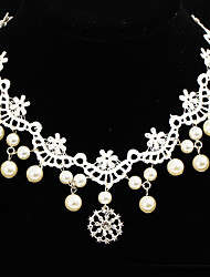 White Lace Hair Jewelry 1 Choker Necklace 1 Pair Pearl Round Earrings Jewelry set Imitation Pearl Basic Design Unique Design