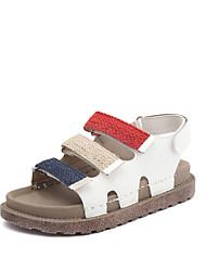 Women's Sandals Comfort PU Spring Summer Casual Comfort Hook & Loop Flat Heel White Black Flat