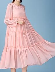 Damen Swing Kleid-Ausgehen Solide Rundhalsausschnitt Maxi Langarm Seide Sommer Mittlere Hüfthöhe Mikro-elastisch Dünn