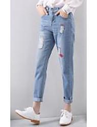 signe automne version coréenne de verges en vrac gros pantalon droit jeans trou coréen sarouel femmes pieds neuf points