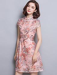 Feminino Evasê Vestido,Para Noite Simples Estampado Colarinho Chinês Acima do Joelho Manga Curta Poliéster Verão Cintura MédiaSem