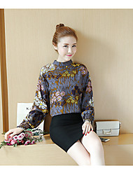 Sign 2017 spring new Korean student was thin loose retro print chiffon shirt long-sleeved high-necked blouse and a half