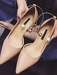 Women's Heels Spring Club Shoes PU Dress Kitten Heel Imitation Pearl