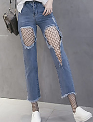 Women's Straight Jeans Pants,Casual/Daily Sexy Street chic Solid Ripped Mesh High Rise Zipper Button Cotton Spandex Inelastic Spring
