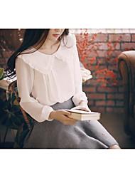 nova primavera-coreano temperamento literário grande lapela camisa de chiffon solta assentamento boneca colar de manga comprida camisa