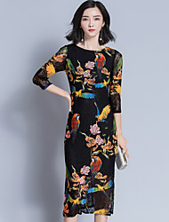 Sign 2017 new Korean Slim stylish middle-aged woman mother dress big yards long section dress
