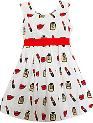 Girls Dress Lipstick Bottle Belt Dresses Party Pageant Wedding Children Clothes