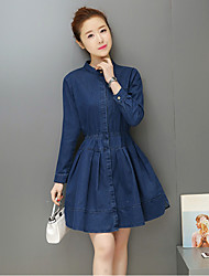 Sign spring new long-sleeved buttoned shirt and long sections Slim denim skirt dress a word skirt tide