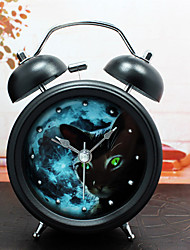 Modern Design Fashion Rivet Metal Alarm Clock Uncanny Darkness Cat Silent Movement Table Clock Creative Nightlight Rivet Clock