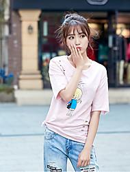 feminina de manga curta t-shirt verdadeiro tiro buraco de bambu algodão coreano selvagens grandes estaleiros era fino de algodão solto