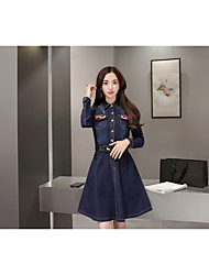 Spring new women long-sleeved denim dress denim skirt autumn and winter large size and long sections Slim was thin tide