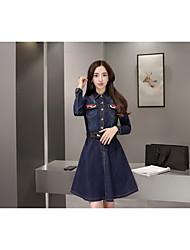 Primavera novas mulheres de manga comprida vestido denim outono saia jeans e tamanho inverno grandes e longas seções fino foi maré fina