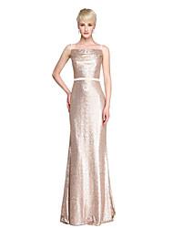 LAN TING BRIDE Longo Com Alças Finas Vestido de Madrinha - Brilho & Glitter Sem Mangas Paetês