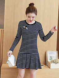 2017 new wild striped long-sleeved dress temperament small fresh pleated A-line skirt was thin fashion real shot