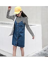 signer des modèles coréens sauvages au printemps et en été simple robe de sangle robe bracelet en denim