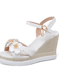 Women's Sandals Summer Fall Slingback PU Office & Career Party & Evening Dress Wedge Heel Flower