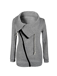 Women's Casual/Daily Hoodie Solid Round Neck Micro-elastic Cotton Long Sleeve Fall