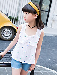 Casual/Daily Print Blouse,Cotton Summer Sleeveless Regular