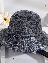 Women's Sweet Cotton Sun Beach Wide-brimmed Hat Bowknot Bow Casual Summer Navy Blue Khaki Black Grey Brown
