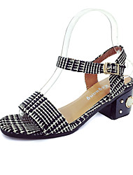 Women's Sandals Spring Summer Comfort Slingback Club Shoes Fabric Wedding Office & Career Casual Chunky Heel Block HeelBeading Buckle