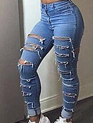 AliExpress ebay2017 new European and American high-waisted hot pants hole jeans washing