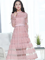 Sign spring new Women Korean Slim was lanky models big swing skirt temperament lace long-sleeved dress