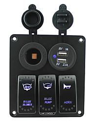 bleu iztoss conduit 3 bandes panneau de commutateur à bascule 5 broches avec prise de courant et 5v 3.1a (2.1a1a) kits de câblage double