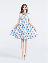 European stations new sell-speed printing cotton vest and white orchid paragraph retro dress with belt