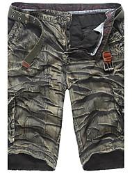 Hombre Sencillo Tiro Medio Inelástica Shorts Pantalones,Corte Ancho Camuflaje