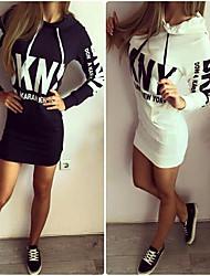 2015 Autumn printing Slim Hooded Dress