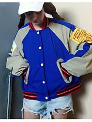 Real Shot loose lettre broderie vêtements de baseball femme été femmes coréen stand-up col court manteau marée