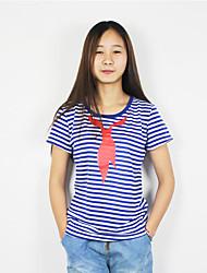 Damen Gestreift Druck Einfach Lässig/Alltäglich T-shirt,Rundhalsausschnitt Kurzarm Baumwolle