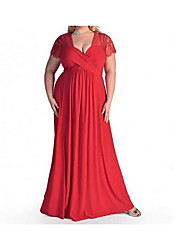 Для женщин На каждый день Секси С летящей юбкой Платье Однотонный,Глубокий V-образный вырез Макси С короткими рукавами Хлопок ВеснаС