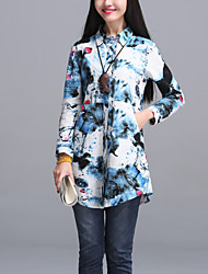 Sign 2017 spring new printing long section of female long-sleeved shirt loose big yards Korean Fan