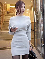 Women's Anniversary Business Engagement Casual/Daily Sexy A Line Dress,Solid Color Round Neck Above Knee, Mini Long Sleeves N/A Spring