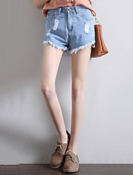 Women's Slim Jeans Shorts Pants,Casual/Daily Street chic Solid Tassel High Rise Zipper Button Cotton Micro-elastic Summer