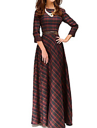 Women's Formal Vintage Sheath Dress,Color Block Round Neck Maxi Long Sleeve Brown Polyester Summer