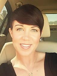 Diy-wig short pixie texturé noir droit noir capless perruque cheveux résistant à la chaleur pour les femmes 2017