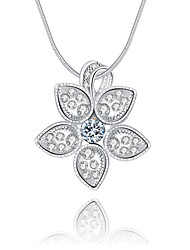 Women's Pendant Necklaces Crystal Sterling Silver Crystal Simulated Diamond Flower Unique Design Logo Style Dangling Style Silver Jewelry