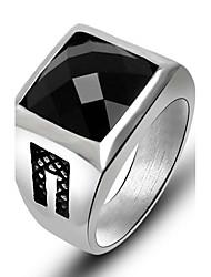 Ring Quadrat Titanstahl Blumenform Schwarz Rot Schmuck Für Alltag 1 Stück