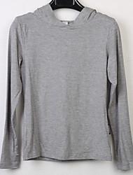 Damen Solide Aktiv Lässig/Alltäglich T-shirt,Mit Kapuze Langarm Baumwolle
