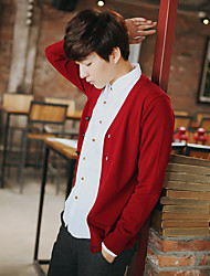 Men's Casual/Daily Regular Cardigan,Solid V Neck Long Sleeve Cotton Spring Thin Micro-elastic